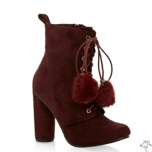 Lace Up High Heel Booties